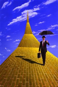 Businessman on Street Paved with Gold --- Image by © Steve Hamblin/Corbis